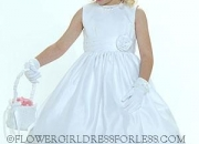 Flower girl dress style 5036- white sleeveless all satin dress with cummerbund style sash