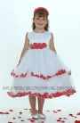 White Sleeveless Double Layer Satin And Tulle with Red Petal Dress