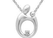 Mother's Day Special - 14K White Gold Designer Motherhood Diamond Pendant