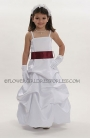 White or Ivory Pick Up Style Satin Dress with Choice of Sash Color