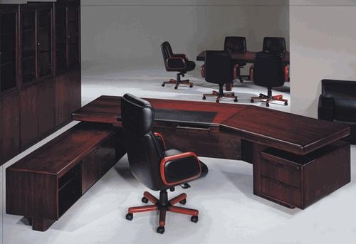 Office furniture - executive desk with left lateral cabinet (walnut wood veneer)