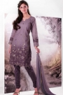 Purple Embroidered Unstitched Salwar Kameez