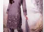 Purple embroidered unstitched salwar kameez