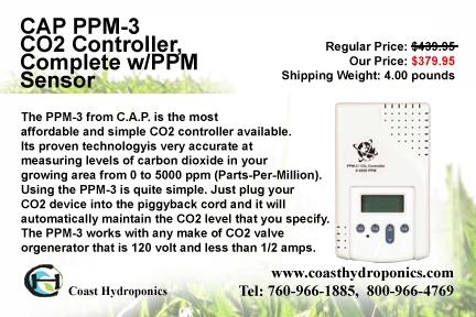 Cap ppm-3 co2 controller, complete w/ppm sensor