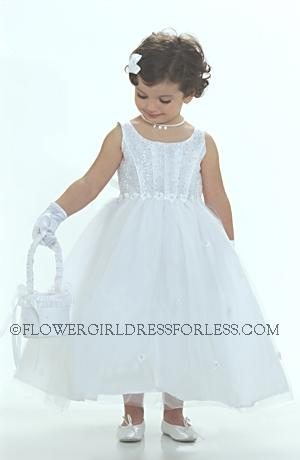Flower girl dress 5167- white sleeveless organza/tulle sparkle corset styled bodice with s
