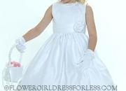 Flower girl dress style 5036- white sleeveless all satin dress with cummerbund style sash