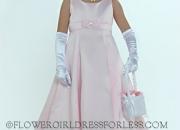 Sale! pink sleeveless all satin empire waist a line with rhinestone ac