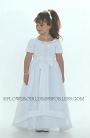Flower Girl Dress 140- White Short Sleeve Princess Dress With Hand Beaded Accents To Satin