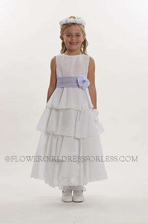 Flower girl dress style 5123- choice of white or ivory crepe dress with multi tiered skirt