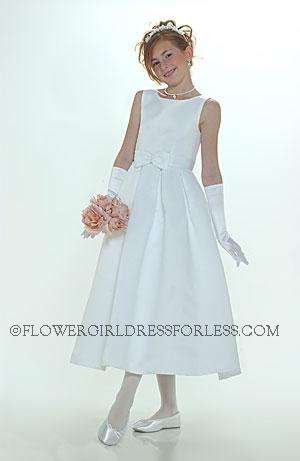 Flower girl dress style 547-white or ivory sleeveless bridal style all satin dress with bo
