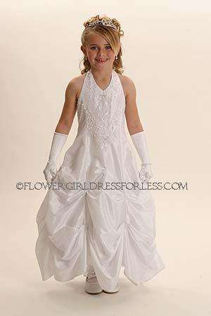Flower girl dress style 5394-white halter dress with pick up style skirt with sequins