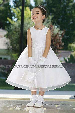 Flower girl dress style 6036-simple satin and organza dress with hand beaded satin belt