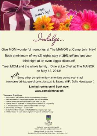 Mother?s day promo at the best hotel in baguio