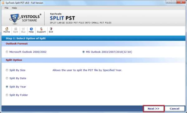 Outlook pst splitter software to split pst file!!