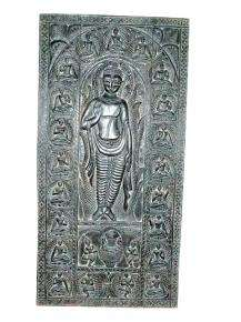 Lord buddha standing hand carved door panel