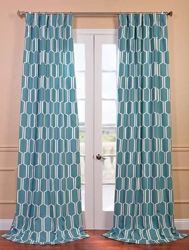 Tide pools printed cotton curtain and drapes