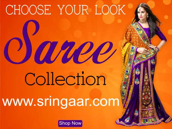 Lehenga style sarees shopping at sringaar
