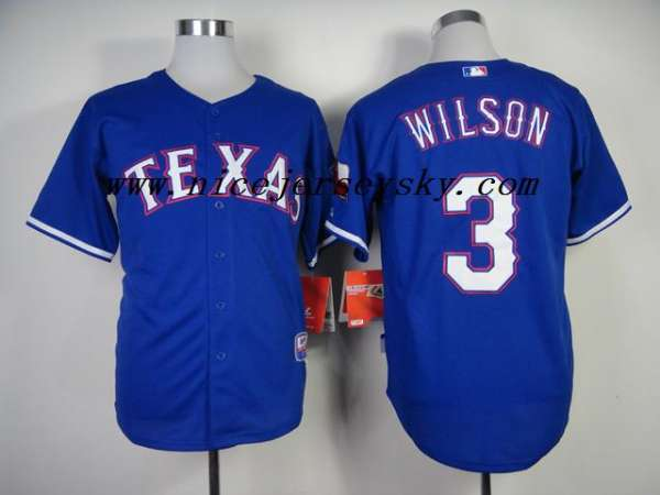 Buy cheap texas rangers #3 russell wilson blue cool base jerseys online china