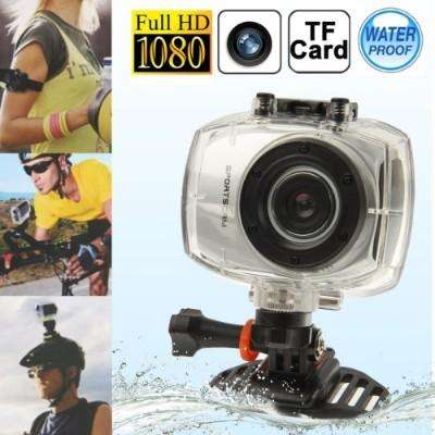Full hd 1080p dv sports camera with waterproof case - silver