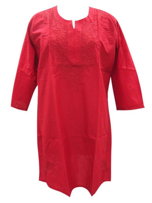 Red fine cotton embroidered kurti tunictop
