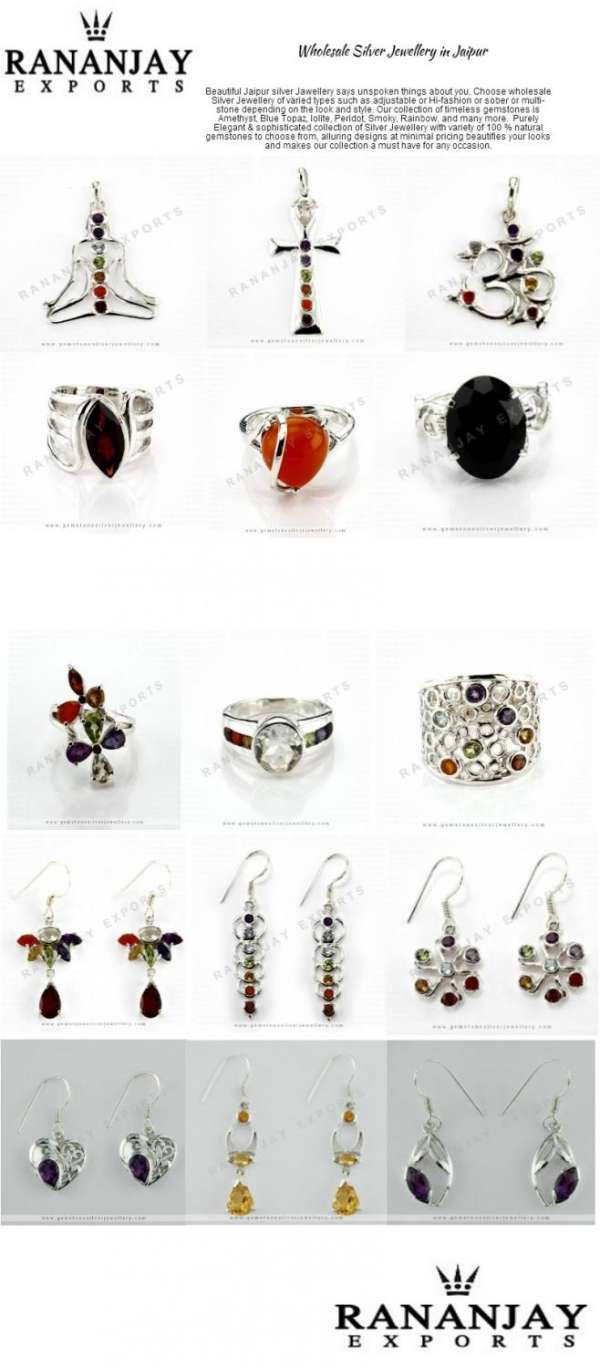 Gemstone silver jewellery in jaipur