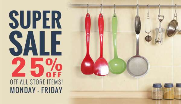 Online flash sale - 25% off on cooking utensils & entire purchase