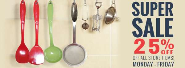 Exclusive summer end sale - 25 % off on all natural kitchen gadgets