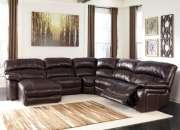 Damacio dark brown leather sectional sofa - the classy home