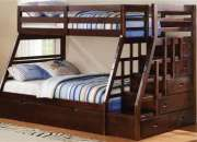 Acme jason espresso twin over full bunk bed with storage ladder & trundle