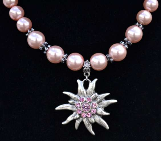 Pink chunky bead edelweiss german necklace