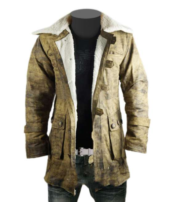 Dark knight rises bane genuine leather buffing brown trench coat