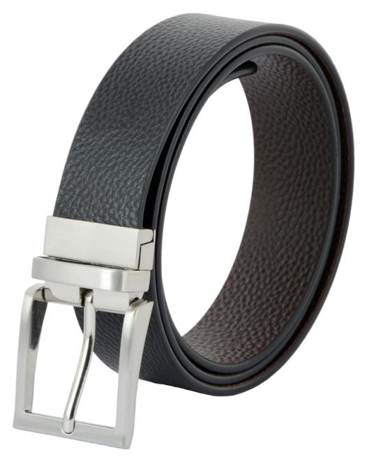 Shopnz reversible belt for men - black & brown genuine leather belt with rotated buckle -