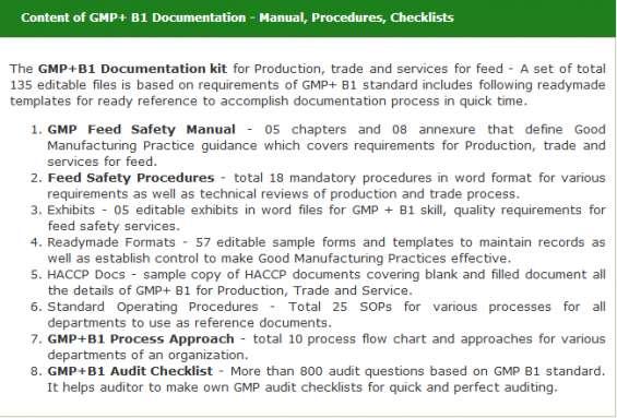 Gmp+ b1 documentation - manual, procedures, checklists