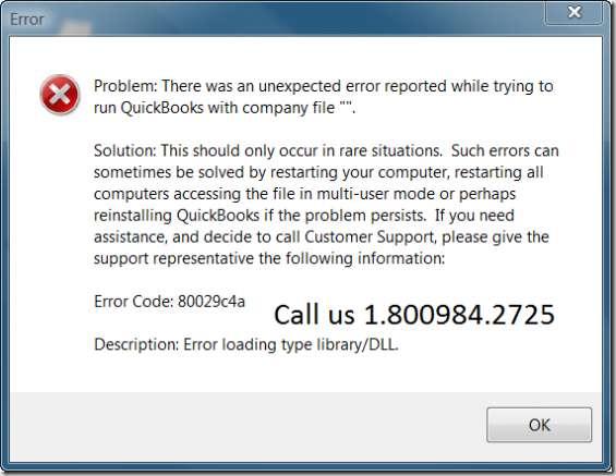 Quickbooks error phone number 18009842725