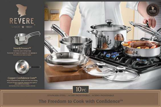 Revere 10pc copper core stainless steel cookware set