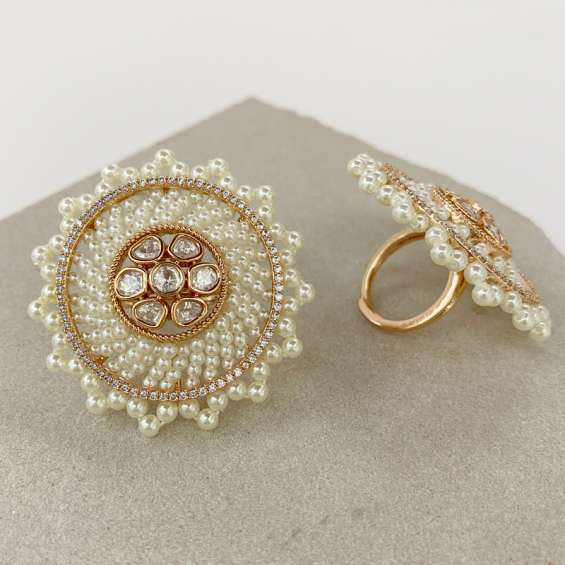 Pearls and kundan ring